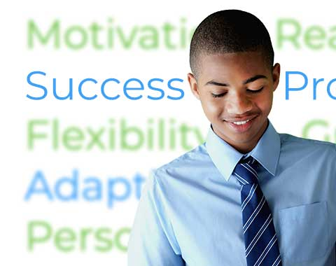 African-American teen looking confident in front of words like 'motivation' and 'success'.