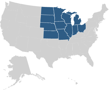 US map showing north-central states highlighted.