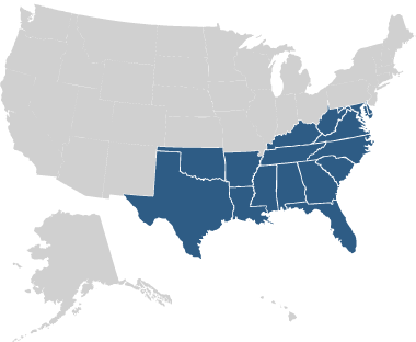 US map showing southeastern states highlighted.