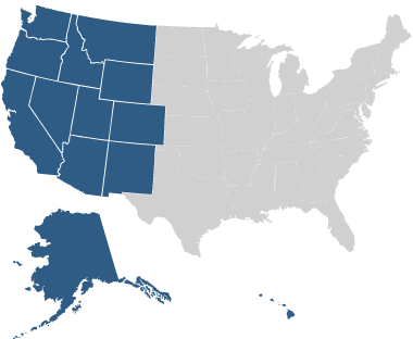 US map showing western states highlighted.