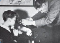 Historical photo of eye movement testing
