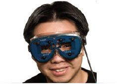 Student wearing Visagraph goggles to measure eye movement while reading