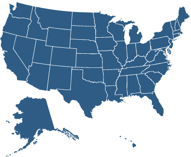 US map showing all states highlighted.