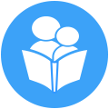 Icon of a parent reading to their child.