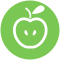 Icon of an apple to represent support for teachers.