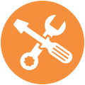 Icon of some tools to represent support for technical staff.